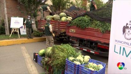 พ่อค้าผักผลไม้ในเปรูบริจาคอาหารให้สวนสัตว์