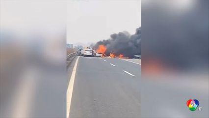 เกิดอุบัติเหตุรถชนกัน 23 คันรวดในจีน