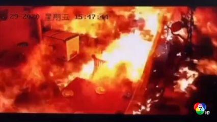 เกิดเหตุก๊าซระเบิดในร้านอาหารที่จีน เคราะห์ดีไม่มีผู้ได้รับบาดเจ็บ