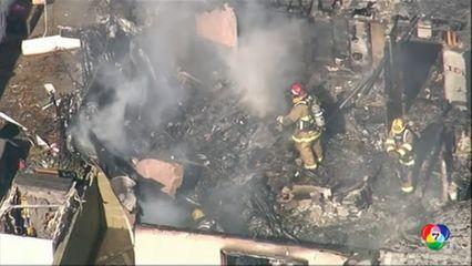 เครื่องบินเล็กตกใส่บ้านในสหรัฐฯ เกิดไฟไหม้เสียหายอย่างหนัก