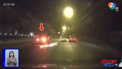 ภาพเป็นข่าว : แท็กซี่ปาดเลนชน จยย.เสียหลักล้ม หวิดถูกรถทับซ้ำ