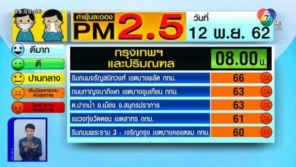 เผยค่าฝุ่น PM2.5 วันที่ 12 พ.ย.62 กทม.-ปริมณฑล พุ่งสูง เริ่มมีผลกระทบต่อสุขภาพ