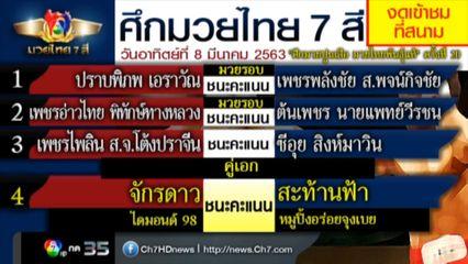 มวยเด็ด วิกหมอชิต : ผลมวยไทย 7 สี 8 มี.ค.63 จักรดาว ไดมอนด์ 98 vs สะท้านฟ้า หมูปิ้งอร่อยจุงเบย