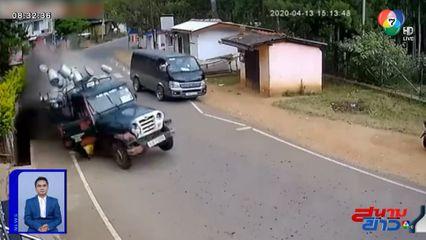 ภาพเป็นข่าว : ระทึก รถส่งนมสายซิ่งเสียหลักแหกโค้ง ถังนมหล่นกระจาย