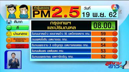 เผยค่าฝุ่น PM2.5 วันที่ 19 พ.ย.62 กทม.- ปริมณฑล เริ่มกลับมามีผลต่อสุขภาพ