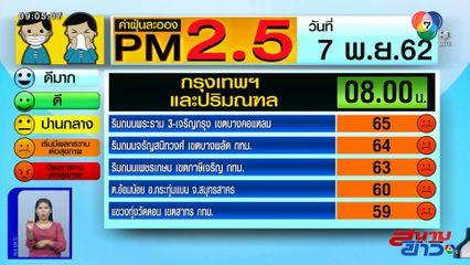 เผยค่าฝุ่น PM2.5 วันที่ 7 พ.ย.62 กทม.-ปริมณฑล อยู่ในระดับสีส้ม มีผลต่อสุขภาพ