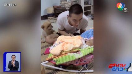ภาพเป็นข่าว : น่าเอ็นดู! เจ้าหมากลัวพ่อไม่รัก ใช้เท้าสะกิดให้หันมาสนใจ