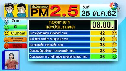 เผยค่าฝุ่น PM2.5 วันที่ 25 ต.ค.62 กทม.และปริมณฑล คุณภาพอากาศเริ่มดีขึ้น