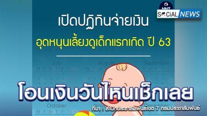 เปิดปฏิทินจ่ายเงินอุดหนุนเลี้ยงดูเด็กแรกเกิด เดือน มิถุนายน-กันยายน 2563
