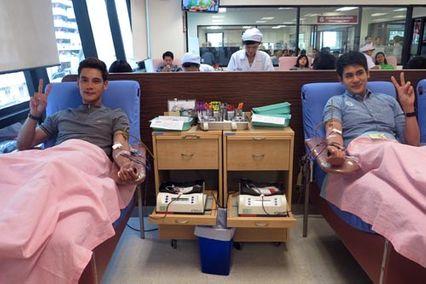 """""""ซัน-โอ๊ต-ต่าย"""" นำทีมนักแสดงช่อง 7 สี  ร่วมบริจาคเลือด  ณ  สภากาชาดไทย"""
