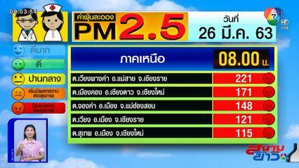 เผยค่าฝุ่น PM2.5 วันที่ 26 มี.ค.63 เชียงรายวิกฤตหนัก ค่าฝุ่นพุ่ง 221 มคก./ลบ.ม.