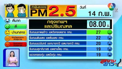 เผยค่าฝุ่น PM2.5 วันที่ 14 ก.พ.63 กทม.-ปริมณฑล สภาพอากาศดี - ภาคเหนือเริ่มมีผลต่อสุขภาพ